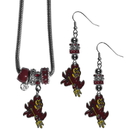 Siskiyou Buckle Arizona St. Sun Devils Euro Bead Earrings and Necklace Set, CEBE68BNK