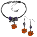 Siskiyou Buckle Clemson Tigers Euro Bead Earrings and Bracelet Set, CEBE69BBR
