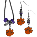 Siskiyou Buckle Clemson Tigers Euro Bead Earrings and Necklace Set, CEBE69BNK
