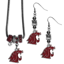 Siskiyou Buckle Washington St. Cougars Euro Bead Earrings and Necklace Set, CEBE71BNK