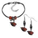 Siskiyou Buckle Oregon St. Beavers Euro Bead Earrings and Bracelet Set, CEBE72BBR