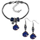 Siskiyou Buckle Boise St. Broncos Euro Bead Earrings and Bracelet Set, CEBE73BBR