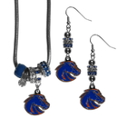 Siskiyou Buckle Boise St. Broncos Euro Bead Earrings and Necklace Set, CEBE73BNK
