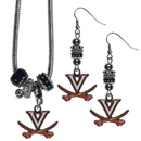 Siskiyou Buckle Virginia Cavaliers Euro Bead Earrings and Necklace Set, CEBE78BNK