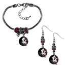 Siskiyou Buckle Florida St. Seminoles Euro Bead Earrings and Bracelet Set, CEBE7BBR