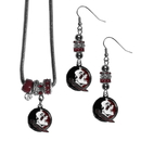Siskiyou Buckle Florida St. Seminoles Euro Bead Earrings and Necklace Set, CEBE7BNK