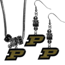 Siskiyou Buckle Purdue Boilermakers Euro Bead Earrings and Necklace Set, CEBE84BNK