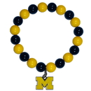 Siskiyou Buckle CFBB36 Michigan Wolverines Fan Bead Bracelet