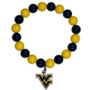 Siskiyou Buckle CFBB60 W. Virginia Mountaineers Fan Bead Bracelet