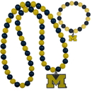 Siskiyou Buckle Michigan Wolverines Fan Bead Necklace and Bracelet Set, CFBN36FBB
