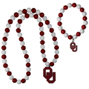 Siskiyou Buckle Oklahoma Sooners Fan Bead Necklace and Bracelet Set, CFBN48FBB