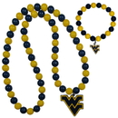 Siskiyou Buckle W. Virginia Mountaineers Fan Bead Necklace and Bracelet Set, CFBN60FBB