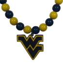 Siskiyou Buckle W. Virginia Mountaineers Fan Bead Necklace, CFBN60