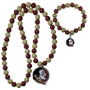 Siskiyou Buckle Florida St. Seminoles Fan Bead Necklace and Bracelet Set, CFBN7FBB