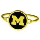 Siskiyou Buckle Michigan Wolverines Gold Tone Bangle Bracelet, CGBB36