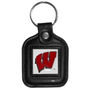Siskiyou Buckle CLS51 Wisconsin Badgers Square Leather Key Chain