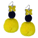Siskiyou Buckle CPPE36 Michigan Wolverines Pom Pom Earrings