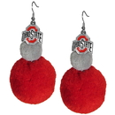 Siskiyou Buckle CPPE38 Ohio St. Buckeyes Pom Pom Earrings