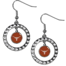 Siskiyou Buckle CRE22 Texas Longhorns Rhinestone Hoop Earrings