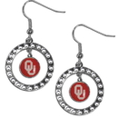 Siskiyou Buckle CRE48 Oklahoma Sooners Rhinestone Hoop Earrings