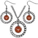Siskiyou Buckle CRJS22 Texas Longhorns Rhinestone Hoop Jewelry Set