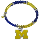 Siskiyou Buckle Michigan Wolverines Crystal Memory Wire Bracelet, CSWB36