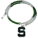 Siskiyou Buckle Michigan St. Spartans Crystal Memory Wire Bracelet, CSWB41