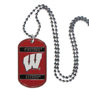 Siskiyou Buckle CTN51 Wisconsin Badgers Tag Necklace