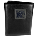 Siskiyou Buckle CTR103 Memphis Tigers Deluxe Leather Tri-fold Wallet Packaged in Gift Box
