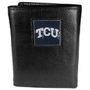 Siskiyou Buckle CTR112 TCU Horned Frogs Deluxe Leather Tri-fold Wallet Packaged in Gift Box