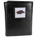 Siskiyou Buckle CTR12 Arkansas Razorbacks Deluxe Leather Tri-fold Wallet Packaged in Gift Box