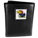 Siskiyou Buckle CTR21 Kansas Jayhawks Deluxe Leather Tri-fold Wallet Packaged in Gift Box