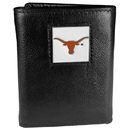 Siskiyou Buckle CTR22 Texas Longhorns Deluxe Leather Tri-fold Wallet Packaged in Gift Box