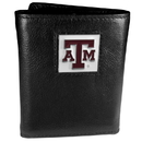 Siskiyou Buckle CTR26 Texas A & M Aggies Deluxe Leather Tri-fold Wallet Packaged in Gift Box