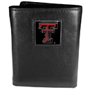 Siskiyou Buckle CTR30 Texas Tech Raiders Deluxe Leather Tri-fold Wallet Packaged in Gift Box
