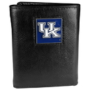 Siskiyou Buckle CTR35 Kentucky Wildcats Deluxe Leather Tri-fold Wallet Packaged in Gift Box