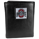 Siskiyou Buckle CTR38 Ohio St. Buckeyes Deluxe Leather Tri-fold Wallet Packaged in Gift Box