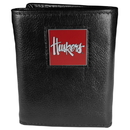 Siskiyou Buckle CTR3 Nebraska Cornhuskers Deluxe Leather Tri-fold Wallet Packaged in Gift Box
