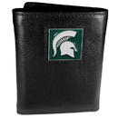 Siskiyou Buckle CTR41 Michigan St. Spartans Deluxe Leather Tri-fold Wallet Packaged in Gift Box