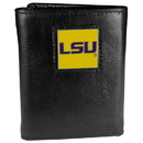 Siskiyou Buckle CTR43 LSU Tigers Deluxe Leather Tri-fold Wallet Packaged in Gift Box