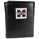 Siskiyou Buckle CTR45 Mississippi St. Bulldogs Deluxe Leather Tri-fold Wallet Packaged in Gift Box