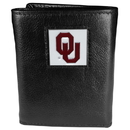 Siskiyou Buckle CTR48 Oklahoma Sooners Deluxe Leather Tri-fold Wallet Packaged in Gift Box