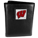 Siskiyou Buckle CTR51 Wisconsin Badgers Deluxe Leather Tri-fold Wallet Packaged in Gift Box