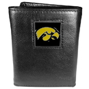 Siskiyou Buckle CTR52 Iowa Hawkeyes Deluxe Leather Tri-fold Wallet Packaged in Gift Box