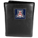 Siskiyou Buckle CTR54 Arizona Wildcats Deluxe Leather Tri-fold Wallet Packaged in Gift Box