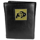 Siskiyou Buckle CTR57 Colorado Buffaloes Deluxe Leather Tri-fold Wallet Packaged in Gift Box