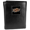 Siskiyou Buckle CTR58 Oklahoma State Cowboys Deluxe Leather Tri-fold Wallet Packaged in Gift Box