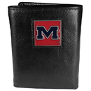 Siskiyou Buckle CTR59 Mississippi Rebels Deluxe Leather Tri-fold Wallet Packaged in Gift Box