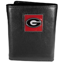 Siskiyou Buckle CTR5 Georgia Bulldogs Deluxe Leather Tri-fold Wallet Packaged in Gift Box