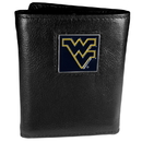 Siskiyou Buckle CTR60 W. Virginia Mountaineers Deluxe Leather Tri-fold Wallet Packaged in Gift Box